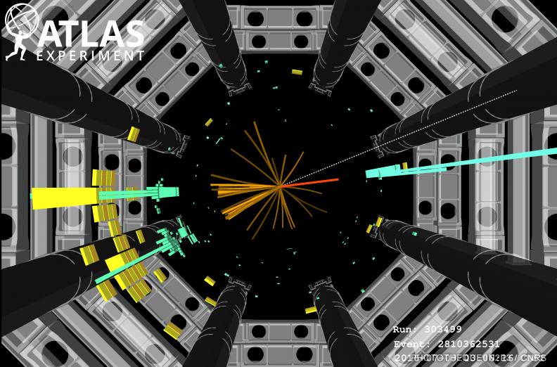 Événement candidat du boson de Higgs obtenu sur l'expérience ATLAS