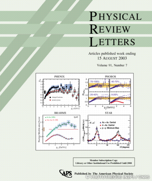 Couverture Physical Review Letter sur le JetQuenching