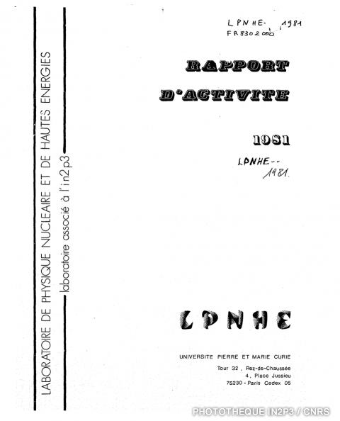 Rapport d'activite 1981