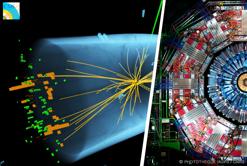 Détecteur CMS (LHC) et candidat Higgs en 2 photons (IP2I)